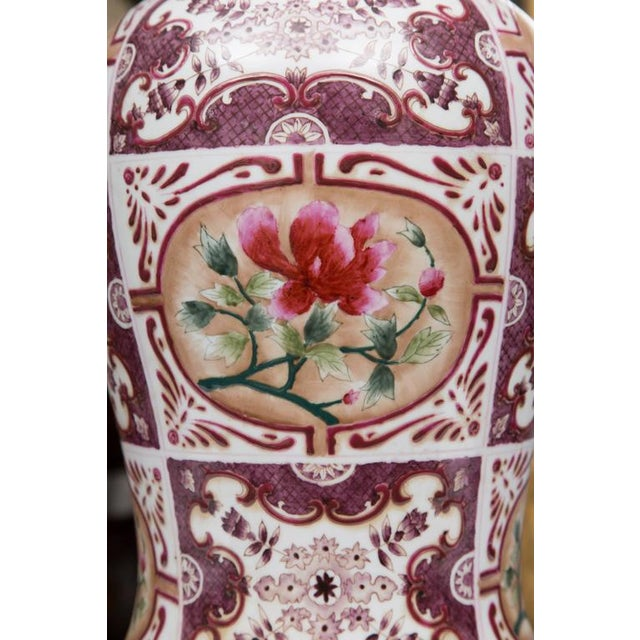 Purple Chinese Lidded Vase with European Inspiration - Image 7 of 7
