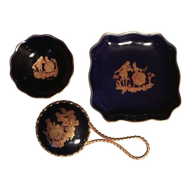 Vintage Cobalt Blue Limoges Pocelain D'Art Vanity Set For Sale