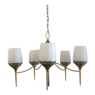 1960d Danish Modern Brass and Milk Glass Chandelier For Sale
