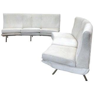 Three-Seat Curved Sofas Marco Zanuso Design, Brass Legs Original Fabric, 1950s