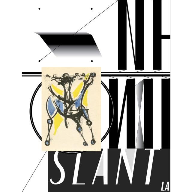 "Marino Marini Italian Modern Art. Pochoir by Jacomet. Printed in 1955. Framed - 14.5"" W x 17"" H Frame - distressed maple,..."