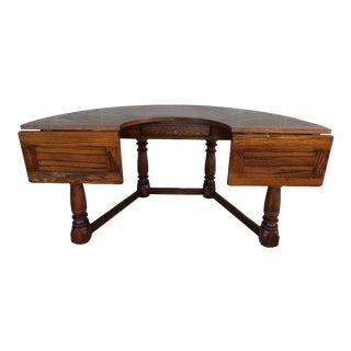 Vintage Globe Spanish Revival Oak Console, Writing Desk, Wine Serving Table For Sale