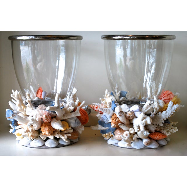 Modern Large Seashell and Coral Hurricane Lanterns - a Pair For Sale - Image 3 of 3
