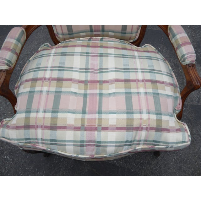 Vintage French Country Carved Wood & Plaid Arm Chair - Image 8 of 11