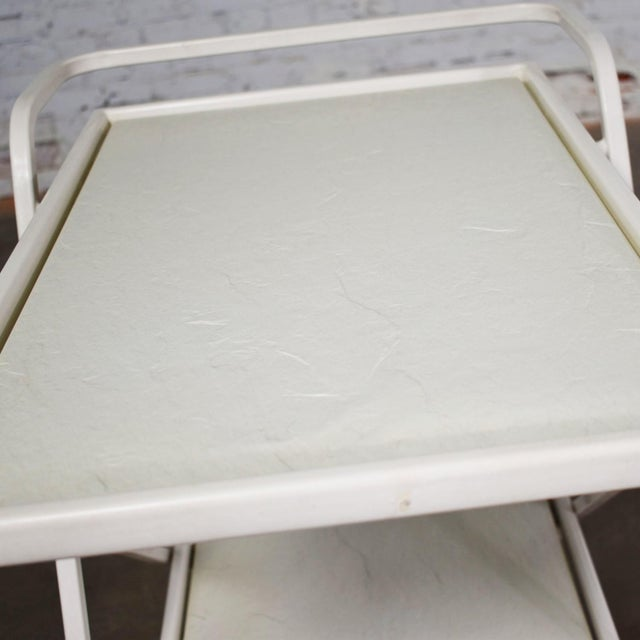 Mid Century Modern Samsonite Tiered Patio Drink Cart of Fiberglass and Enameled Steel Tube in White For Sale - Image 12 of 13