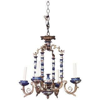 19th-20th Century French Louis XV Style Sevres Porcelain Four-Arm Chandelier For Sale