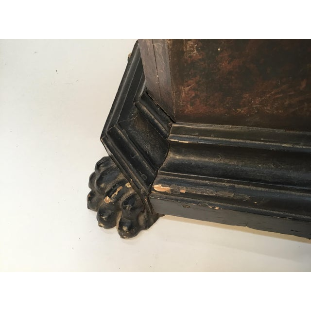 Black 18th Century Italian Marbleized and Carved Pedestals- a Pair For Sale - Image 8 of 13