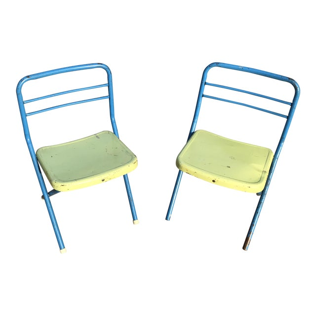 Vintage Children's Metal Folding Chairs - a Pair For Sale - Image 11 of 11