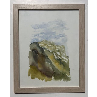 Original Vintage Abstract Landscape Watercolor Painting For Sale