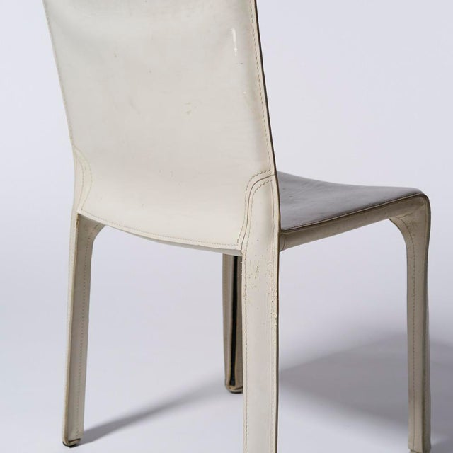 Contemporary Mario Bellini for Cassina White Leather Cab Side Chair For Sale - Image 3 of 4