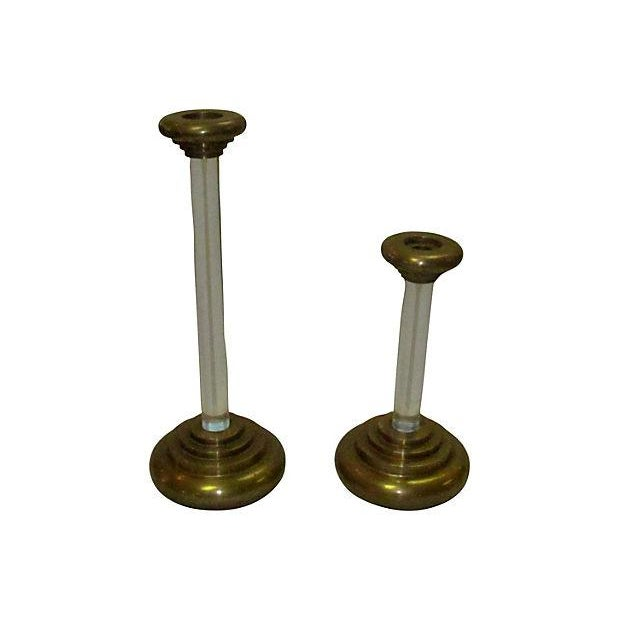 Karl Springer Lucite Brass Candleholders - A Pair - Image 2 of 2