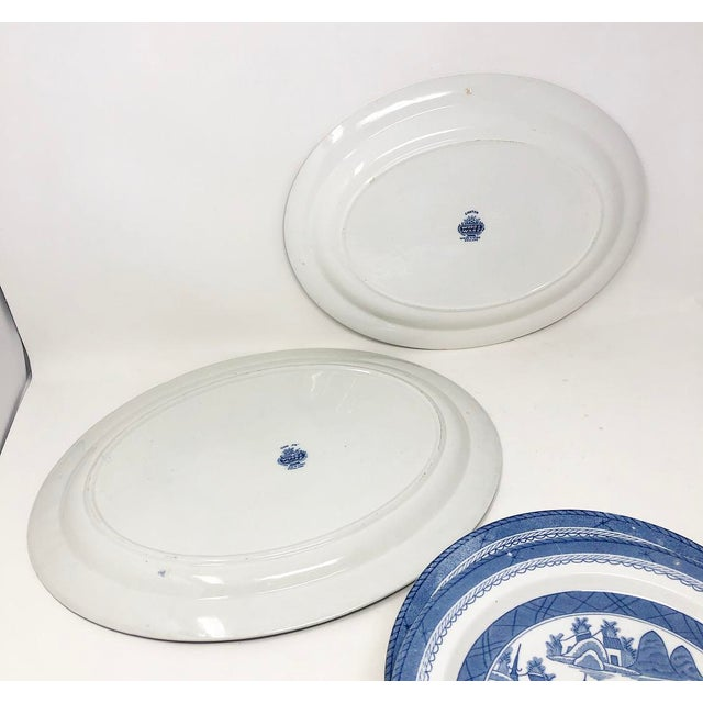 Wood Antique Blue & White Canton Pattern China Collection - Set of 14 For Sale - Image 7 of 13