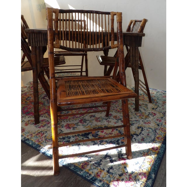 Brown Florida Rattan and Bamboo Folding Game Table With Six Folding Chairs - 7 Pieces For Sale - Image 8 of 9