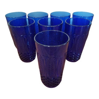 French Blue Glass Drinking Glasses - Set of 8