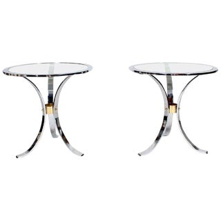 Pair of Maison Jansen Polished Steel and Brass Side Tables For Sale