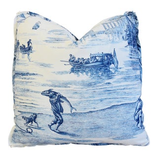 "Designer Schumacher Blue & White Toile Feather/Down Pillow 21"" Square For Sale"