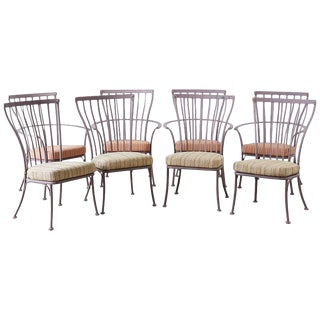 Set of Eight O. W. Lee Patio Garden Dining Chairs For Sale