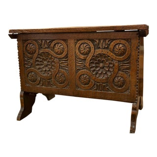 English Carved Oak Coffer For Sale