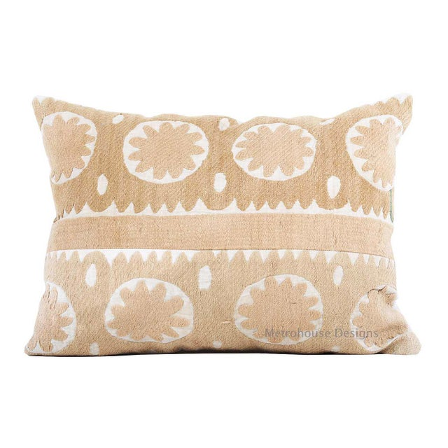Boho Chic Vintage Cotton Embroidered Suzani Accent Down Feather Pillow For Sale - Image 3 of 3