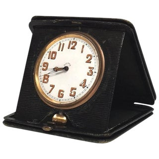 Art Deco Travel Clock in Green Leather From England For Sale