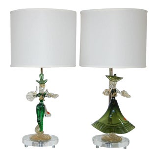 Vintage Murano Glass Figurine Lamps in Green Gold For Sale