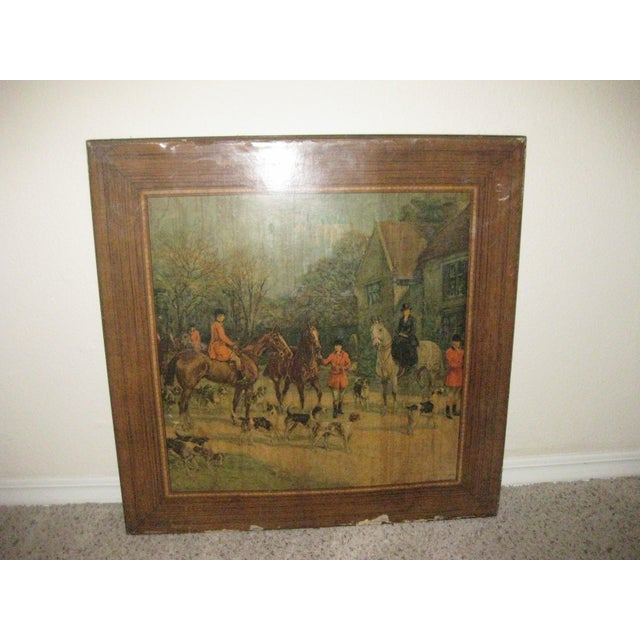 Vintage Card Table With Equestrian Hunt Scene For Sale - Image 4 of 13