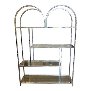 Milo Baughman Style Mid-Century Chrome Shelf** For Sale