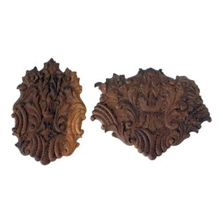 Antique Carved Wood Architectural Salvage Wall Accents - A Pair