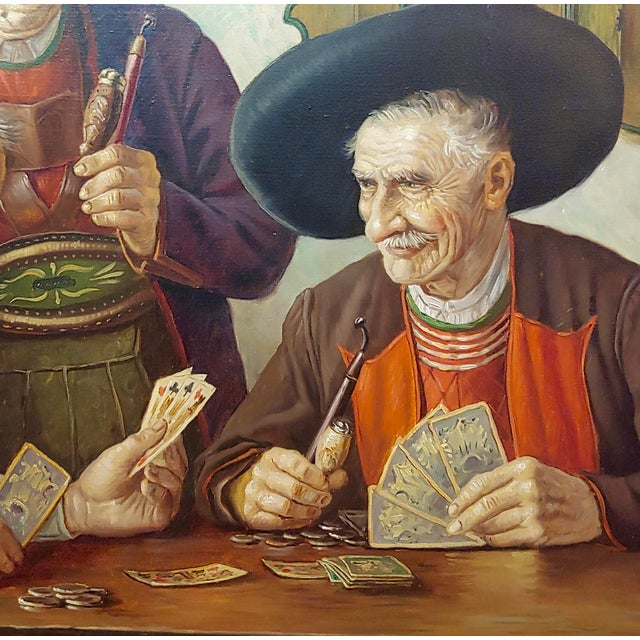 1950s Otto Eichener -The Card Players -Oil Painting For Sale - Image 5 of 11