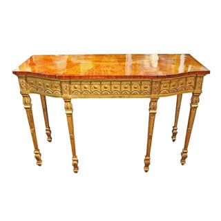 An Exceptional 18th Century English George III Burl Maple and Giltwood Console Table For Sale