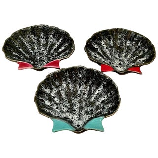 Mid-Century French Pottery Oyster Dishes - Set of 3