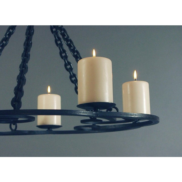 1920s 1920s Wrought Iron Art Deco Chandelier With Beeswax Candles For Sale - Image 5 of 8