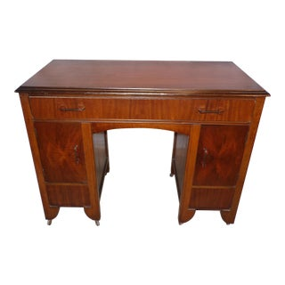 Antique Art Deco Walnut Office Desk Vanity 1930's