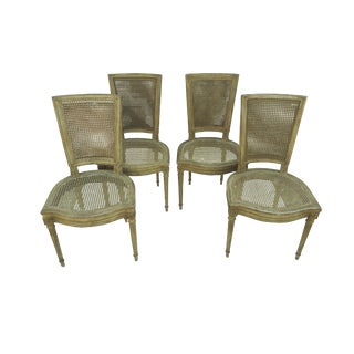 French Double Caned Directoire Dining Side Chairs - Set of 4