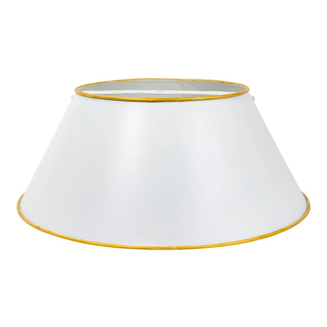 Vintage White Tole Lampshade For Sale