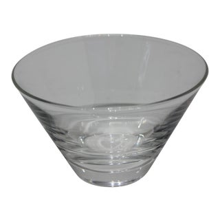Martini Olive Modern Small Serving Bowl Clear Glass Signed by Steuben For Sale