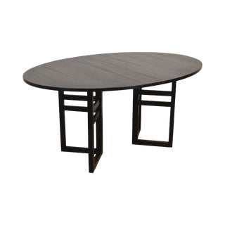 Danish Modern Black Lacquer Oval Dining Table For Sale