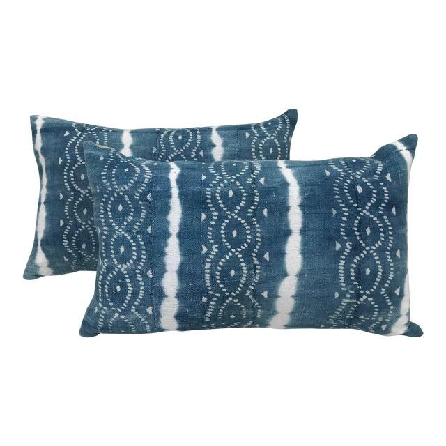African Indigo Faded Tye-Dye Fringe Pillows - A Pair - Image 1 of 10