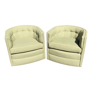 Green Tufted Barrel Back Chairs on Castors - A Pair For Sale