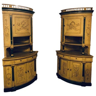 Pair of 19th Cent Monumental Paint Decorated Corner Cabinets Faux Marble Columns For Sale