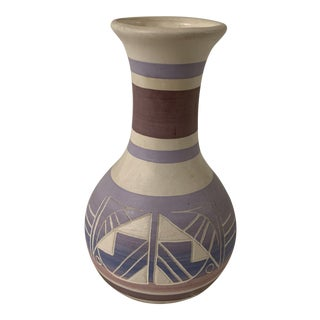 Vintage Navajo Hand Etched and Painted Pottery Vase, Signed For Sale