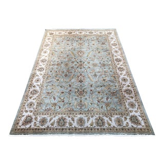 Ethan Allen Aqua and Ivory Persian Style Silk + Wool Rug - 9′4″ × 13′9″
