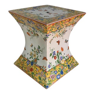 Vintage Mid-Century Polychrome Enameled Chinese Porcelain Garden Seat For Sale