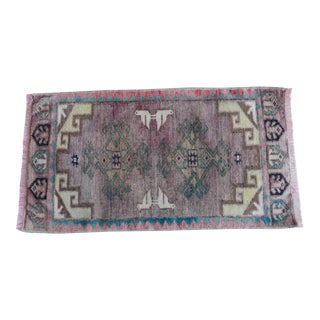 Distressed Vintage Small Turkish Rug Mat 1′6″ × 2′9″ For Sale