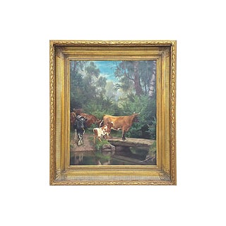 19th Century Antique Cattle at the River Crossing Painting For Sale