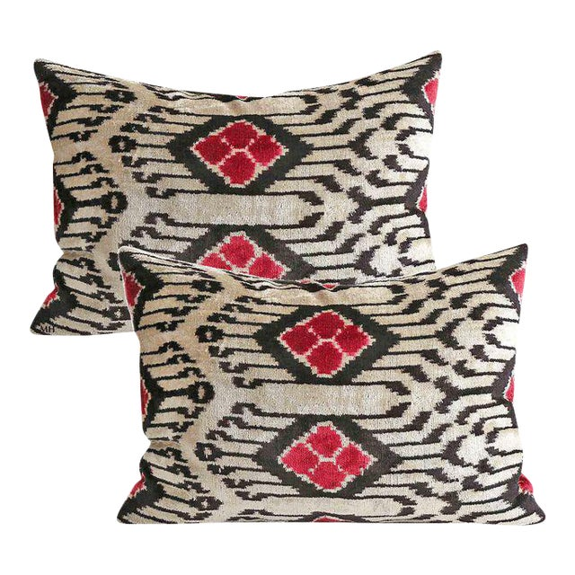 Silk Velvet Down Feather Accent Pillows - A Pair For Sale