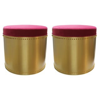 Taylor Burke Home Fuschia Velvet Brass Rivet Stools - a Pair For Sale