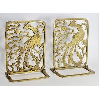 Vintage Pair of Phoenix Brass Bookends -Feng Shui - Asian Chinese Chinoiserie Palm Beach Boho Chic Mid Century Modern Preview