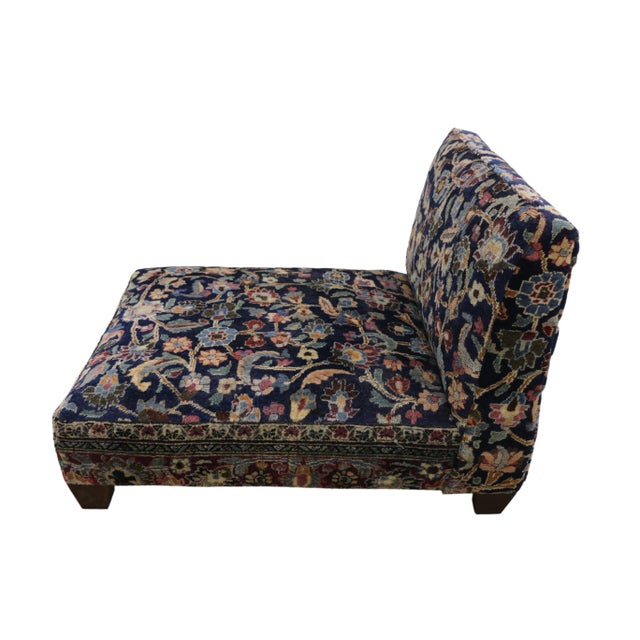 Low profile slipper chair or Persian rug Petbed from antique Persian Khorassan rug. This hand knotted wool late 19th...