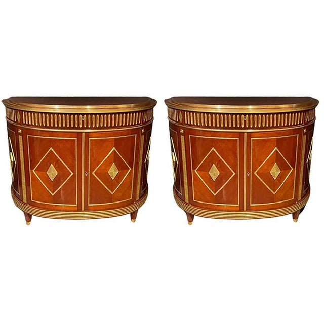 Russian neoclassical style pair of bronze mounted finely polished d shaped commodes, servers or bedside stands. Leaving...